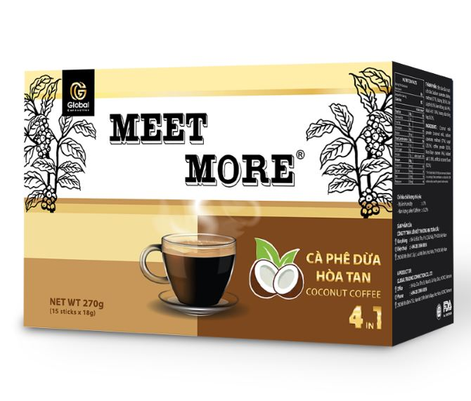 Coconut 4 in 1 Instant Meet More Coffee (bag 50 sachets, 18 g each sachet)