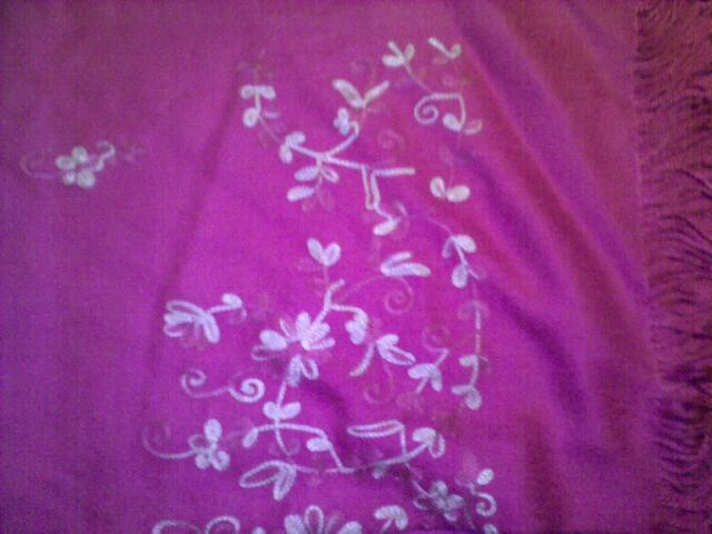 Pashmina Pink - contrast pink embroidery