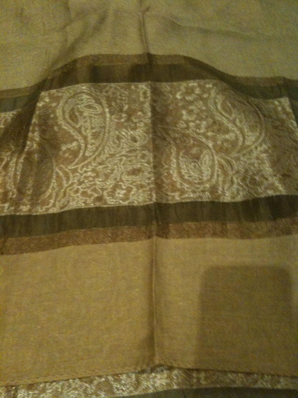 Silk scarf khaki tan paisley