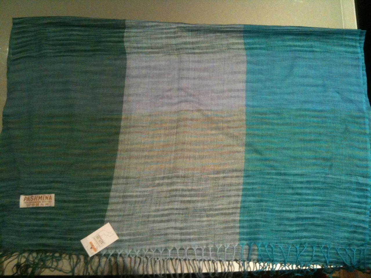 Pashmina shawl green, aquamarine, light blue with hints of mauve  120x60