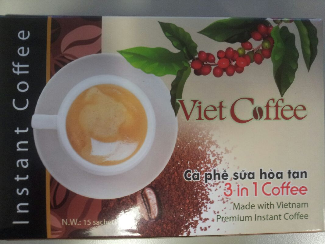 Viet-Coffee 3 in 1 - 15 sachet-  a white sugared instant coffee