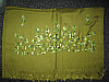 Pashmina shawl embroidered Oliver green with green contrasting embroidery