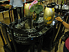 Six seater dining setting - inlaid mother of pearl over black laquer